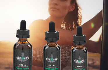 three cbd tinctures with scenic background